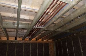 first fix plumbing in ceiling